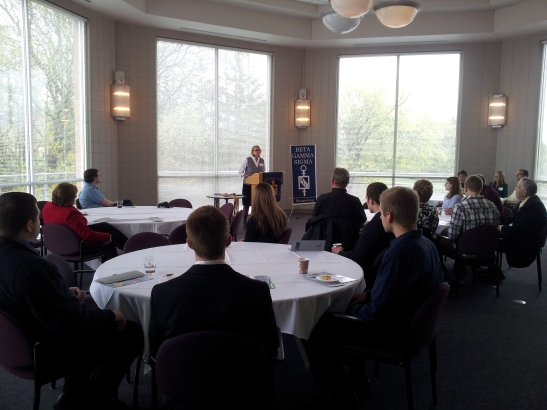 Dr. Christine Clements, Dean of the College of Business & Economics, addresses the 2013 Beta Gamma Sigma inductees and their guests at the University of Wisconsin-Whitewater.